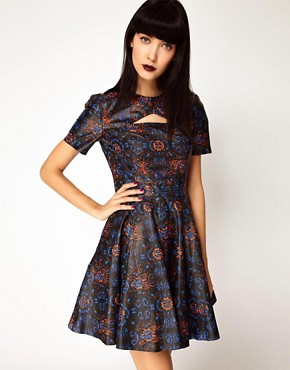 Image 1 ofASOS BLACK By Markus Lupfer Leather Skater Dress In Print