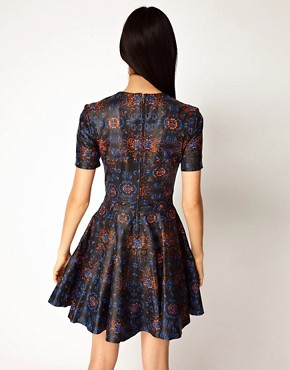 Image 2 ofASOS BLACK By Markus Lupfer Leather Skater Dress In Print