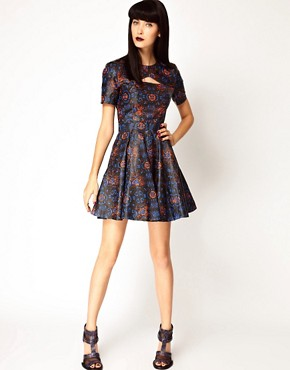 Image 4 ofASOS BLACK By Markus Lupfer Leather Skater Dress In Print