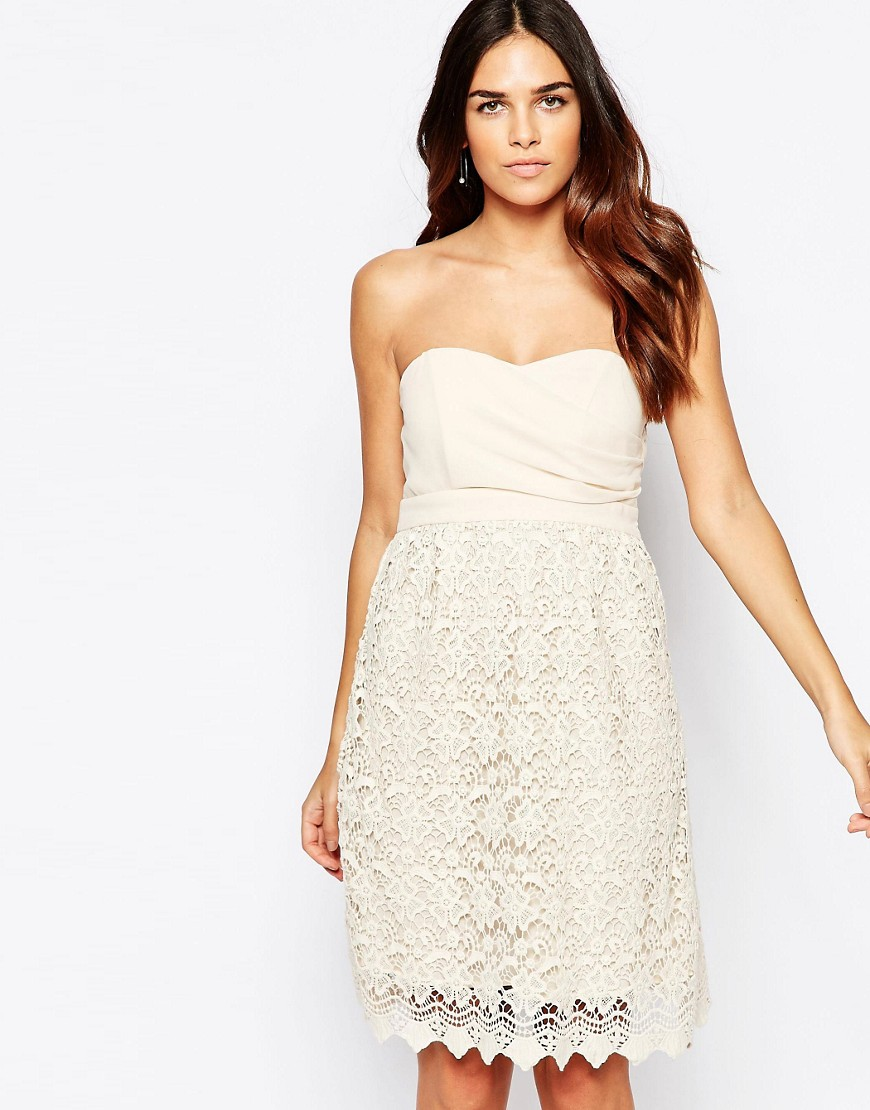 Traffic People Carry On Crochet Crusade Dress With Bandeau Top - Cream