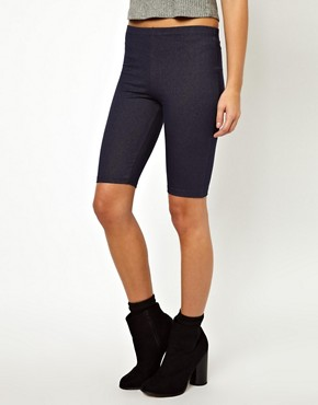 Image 2 ofASOS Legging Shorts in Denim Look