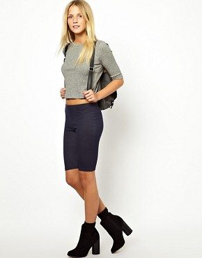 Image 1 ofASOS Legging Shorts in Denim Look