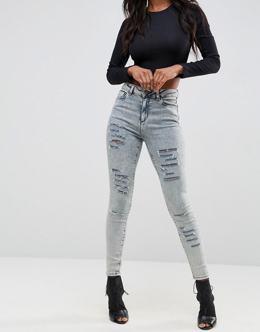 ASOS RIDLEY High Waist Skinny Jeans in Nichol Light Acid Wash with Shredded Rips thumbnail