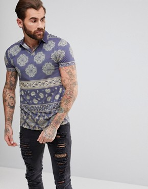 ASOS Polo With Revere Collar And All Over Paisley Print