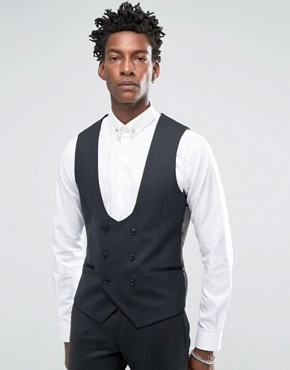Noose & Monkey Tuxedo Waistcoat With Stretch In Super Skinny Fit