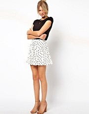 ASOS Skater Skirt in Bird Print