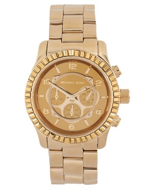 Image 1 ofMichael Kors Gold Chronograph Bracelet Watch
