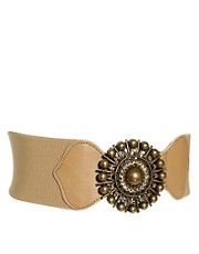 Black &amp; Brown Myla Leather Swarovski Buckle Belt