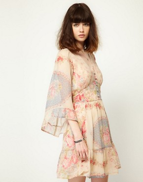 Image 1 ofLottie and Holly Babydoll Dress In Chiffon Floral