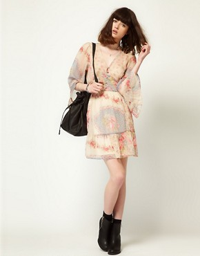 Image 4 ofLottie and Holly Babydoll Dress In Chiffon Floral