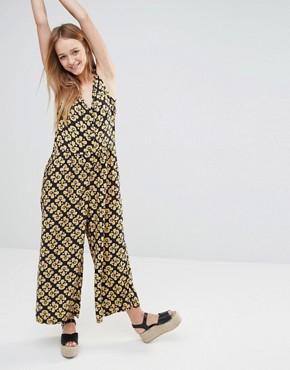 Monki 70s Printed Culotte Jumpsuit