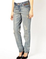 ASOS  Slim Boyfriend Jeans in Vintage Wash with Aztec Trim