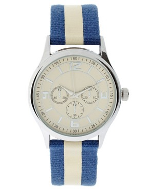 Image 1 ofRiver Island Blue Nautical Stripe Watch