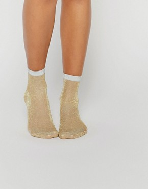 ASOS Gold Glitter Ankle Socks With Silver Welt