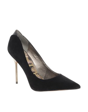 Image 1 ofSam Edelman Danielle Heeled Black Point Court Shoes