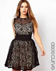 ASOS CURVE Exclusive Skater Dress With Lace And Deep Waistband