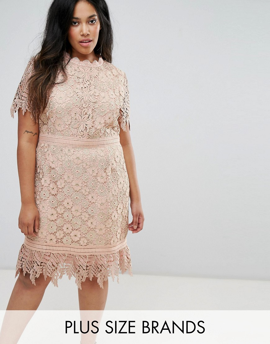 Truly You Contrast Lace Mini Dress With Insert Trim - Pink