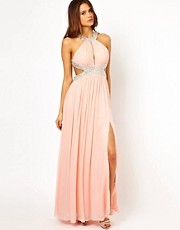 Forever Unique Halter Maxi Dress with Embellished Waist