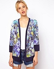 ASOS Blazer In Soft Floral Print With Colour Blocking