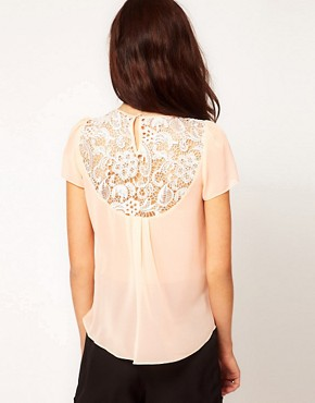 Image 2 ofWarehouse Lace And Chiffon T-Shirt