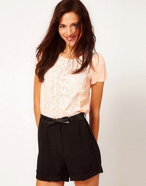 Image 1 ofWarehouse Lace And Chiffon T-Shirt