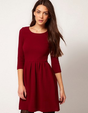 Image 1 ofGanni Waffle Skater Dress in Burgundy