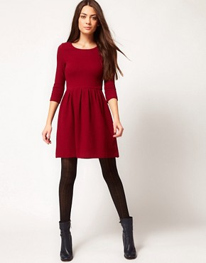 Image 4 ofGanni Waffle Skater Dress in Burgundy