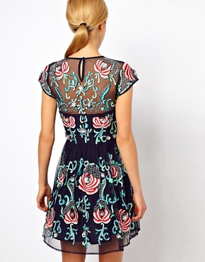 Image 2 ofASOS PETITE Exclusive Premium Skater Dress With Floral Embellishment