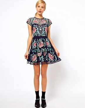 Image 4 ofASOS PETITE Exclusive Premium Skater Dress With Floral Embellishment
