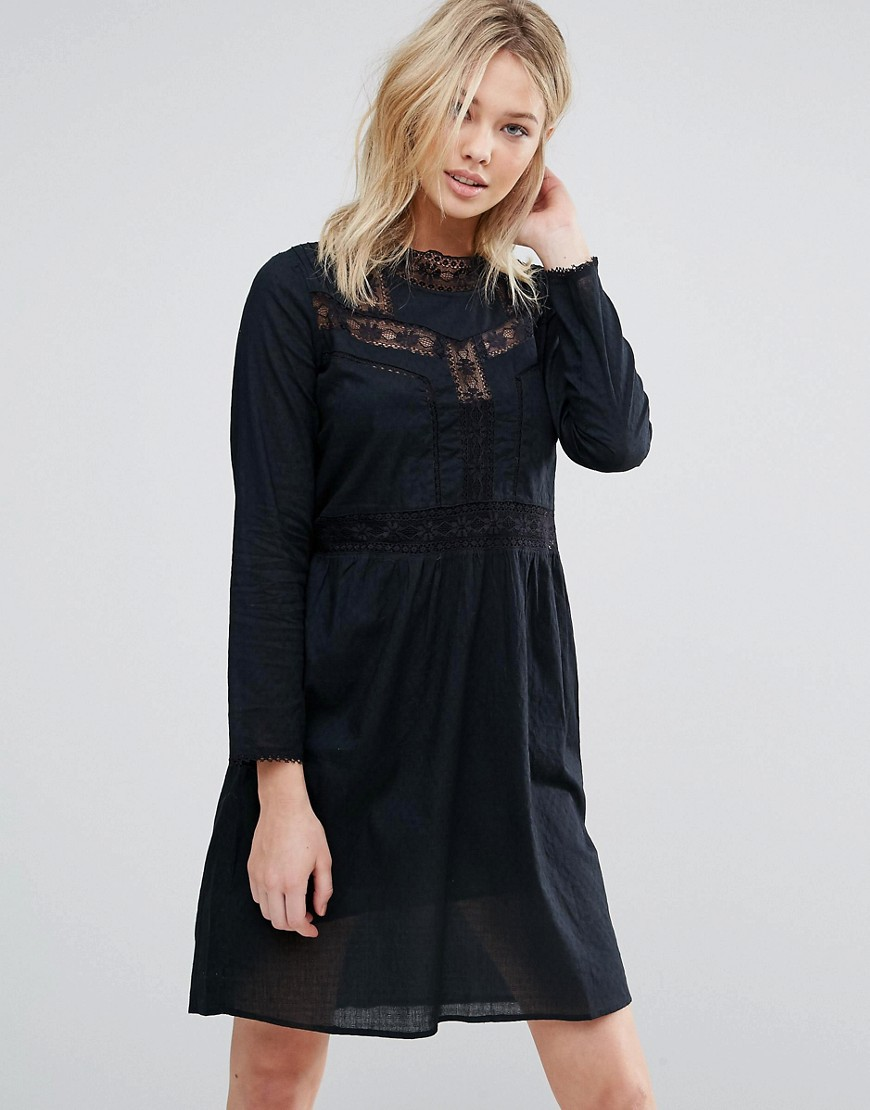 d.RA Farrah Embroidered Smock Dress - Black