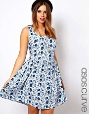 ASOS CURVE Exclusive Skater Dress in Blue Floral