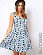 Image 1 of ASOS CURVE Exclusive Skater Dress in Blue Floral