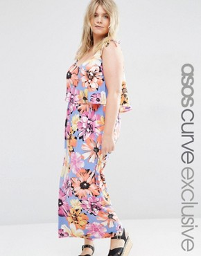 ASOS CURVE Beach Maxi Dress with Tie Shoulder Detail in Floral Print