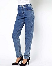 ASOS Mom Jeans in Indigo Acid Wash