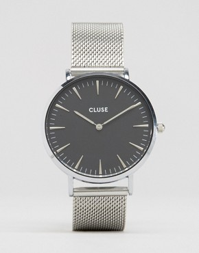 Cluse La Bohème Black & Silver Mesh Watch CL18106