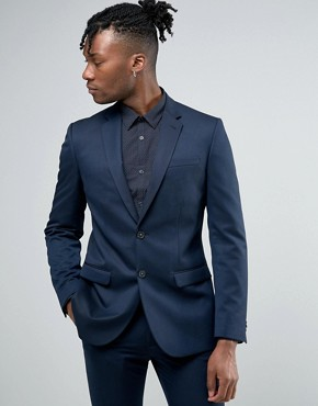 New Look Slim Suit Jacket in Navy