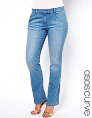 ASOS CURVE Lennox Supersoft Flare Jean In Mid Stone Wash