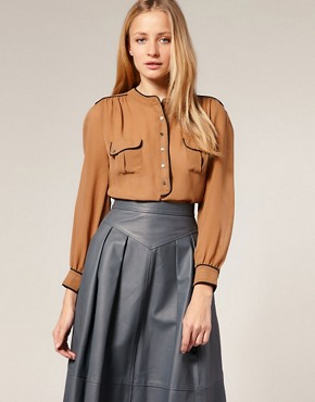 Image 1 ofWhistles Contrast Piping Blouse