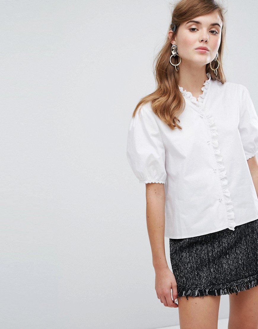 Sister Jane Blouse With Broderie Trim - White