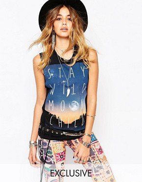 Rokoko Cut Off Tank Vest With Moon Child Festival Print