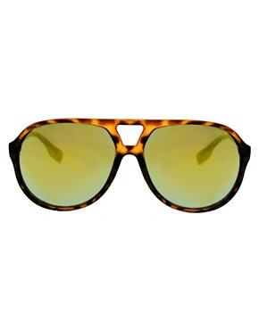 Image 2 ofASOS Tort Plastic Aviator Sunglasses with mirrored Lens