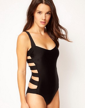 Image 1 ofASOS Caged Bow Back Swimsuit