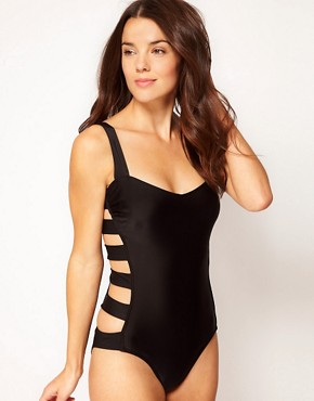 Image 4 ofASOS Caged Bow Back Swimsuit