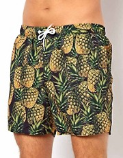 ASOS Swim Shorts With Pineapple Print