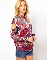 ASOS Shirt With Retro Paisley Print And Peekaboo Sleeve