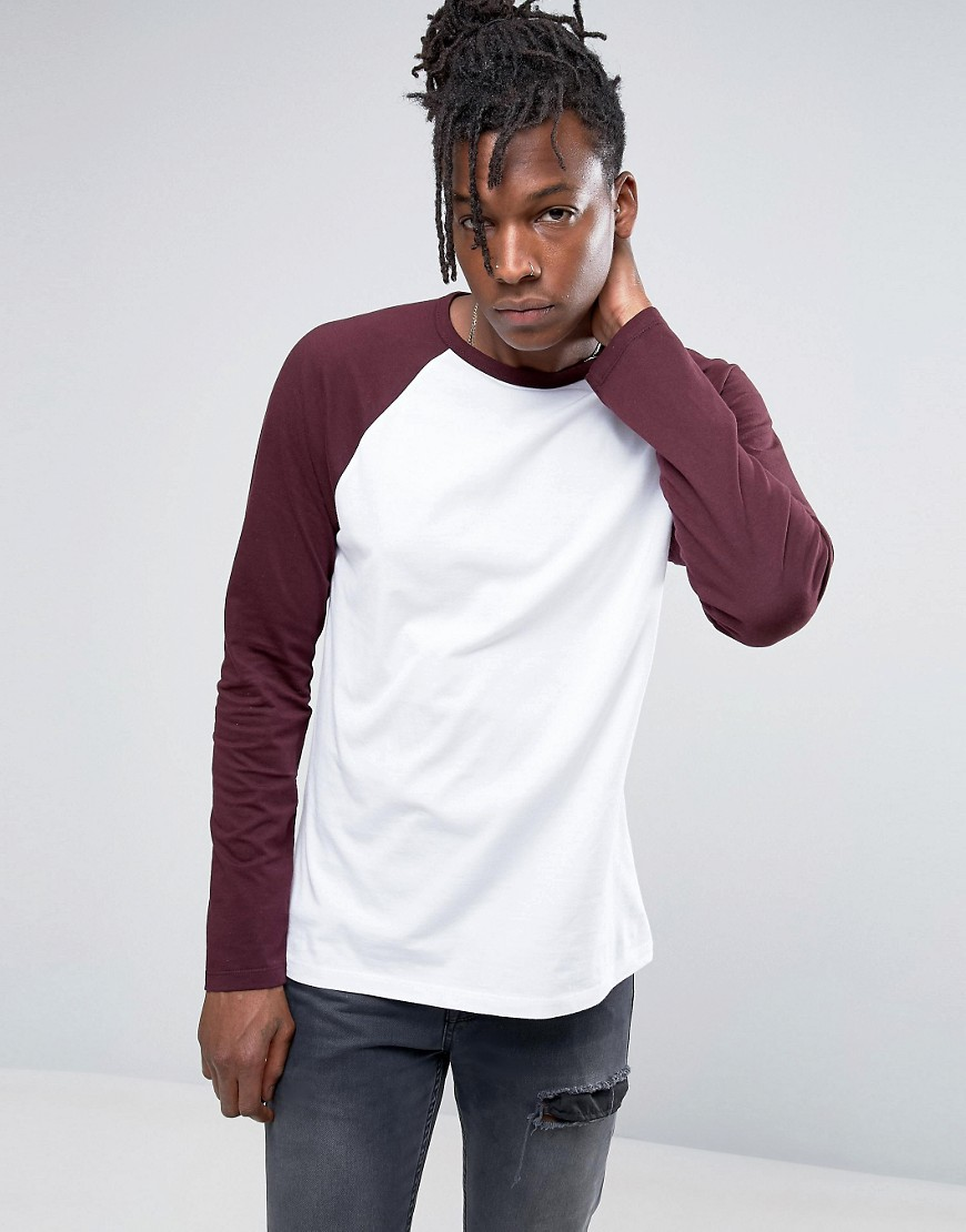ASOS Long Sleeve T-Shirt With Contrast Raglan - Multi