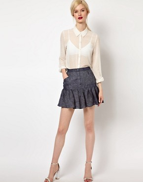 Image 1 ofSee by Chloe Fluted Hem Skirt in Denim Linen