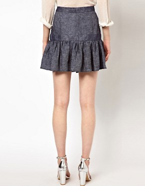 Image 2 ofSee by Chloe Fluted Hem Skirt in Denim Linen