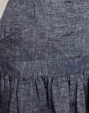 Image 3 ofSee by Chloe Fluted Hem Skirt in Denim Linen