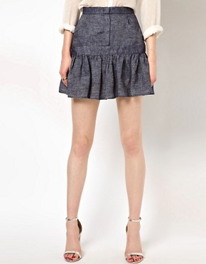Image 4 ofSee by Chloe Fluted Hem Skirt in Denim Linen
